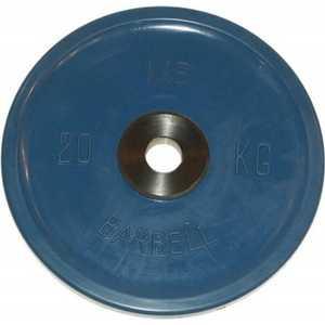 Диск обрезиненный MB Barbell 51 мм 20 кг синий Евро-Классик (Олимпийский) диск обрезиненный mb barbell 51 мм 25 кг красный евро классик олимпийский