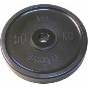 Диск обрезиненный MB Barbell 51 мм 50 кг черный ''Евро-Классик'' (Олимпийский)