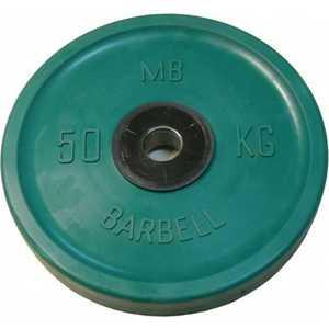 Диск обрезиненный MB Barbell 51 мм 50 кг зеленый Евро-Классик (Олимпийский) диск обрезиненный mb barbell 51 мм 25 кг красный евро классик олимпийский