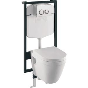Комплект Vitra S50 унитаз с сиденьем микролифт + инсталляция + кнопка хром (9003B003-7200) сиденье vitra s50 ультратонкое микролифт 110 003 019