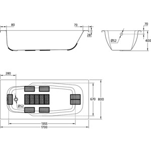 BLB Atlantica с шумоизоляцией 170х80 см 3.5 мм с отверстиями для ручек (B70J handles) от ТЕХПОРТ