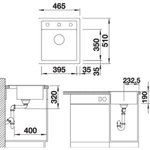 Мойка кухонная Blanco Dalago 45 темная скала (518846)  кухонная мойка blanco dalago 45 grey beige