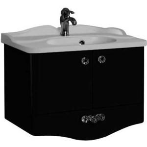 Тумба с раковиной Акватон Венеция 75 черный глянец (1A150901VN950 + 1A707031VN010) акватон мебель для ванной акватон венеция 75 черная