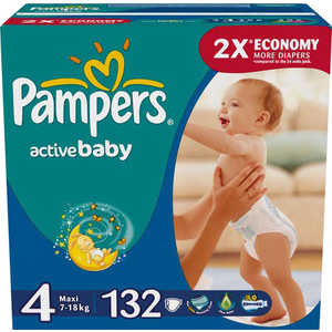 "Подгузники Pampers ""Active Baby Maxi"" 7-14кг 132шт Мега 4015400265238"