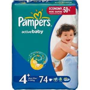 ���������� Pampers ''Active Baby Maxi Plus'' 9-16�� 74�� ������ 4015400264897
