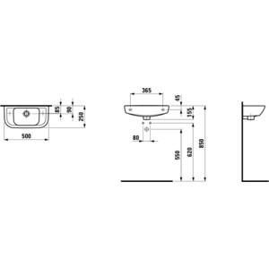 Раковина Laufen Pro 50х25 см с отверстием слева (8.1695.7.000.105.1) от ТЕХПОРТ