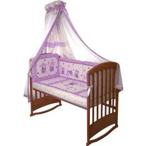 Комплект в кроватку Perina ''Ника'' 7 предметов (мишка на подушке/лиловый) Н7-01.4