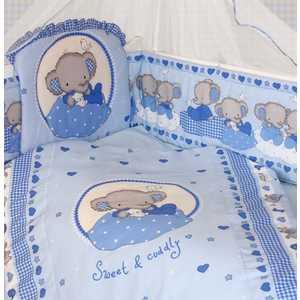Комплект в кроватку Золотой гусь ''Слоник Боня'' 7 предметов (голубой) 1912