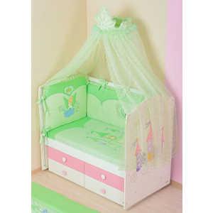 Комплект в кроватку Сдобина ''Принцесса'' 7 предметов (салатовый) 83
