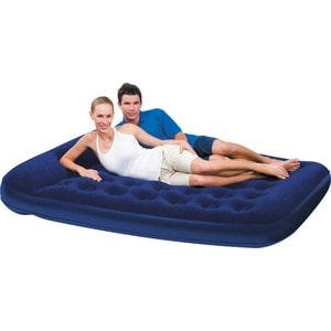 Кровать флокированная Bestway 201х152х23см (синяя), встр.насос (67226N/67226)