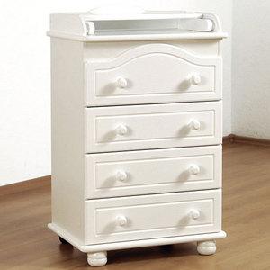 Комод Гандылян ''Аистенок мини люкс'' с пеленальным столиком/4 ящика (белый)