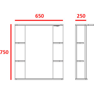 Зеркальный шкаф Меркана магнолия 65 см свет выкл розетка белое (7328) меркана магнолия 60 см полочки справа свет белое 7327