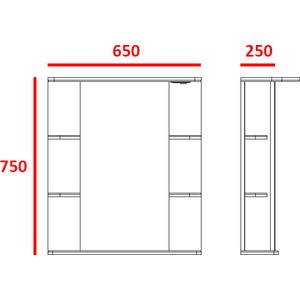Зеркальный шкаф Меркана магнолия 65 см свет выкл розетка белое (7328) зеркало шкаф aquaton инфинити 65 1a197002if010 white