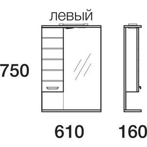 Зеркальный шкаф Меркана таис 60 см шкаф слева свет белый каннелюр (16285)
