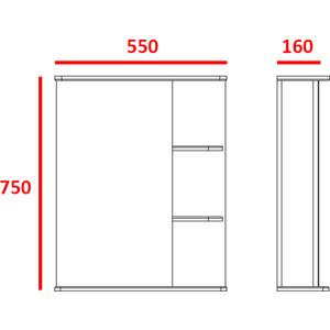 Зеркальный шкаф Меркана керса 01 55 см слева белое (7652) зеркало шкаф triton диана 70 левостороннее белое