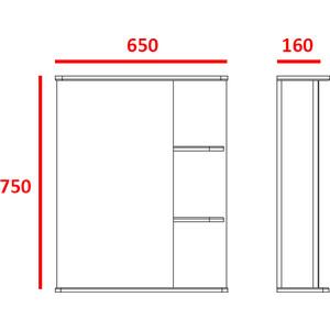 Зеркальный шкаф Меркана Керса 02, 65 см полки справа (7654) зеркало шкаф aquaton крит 65 венге