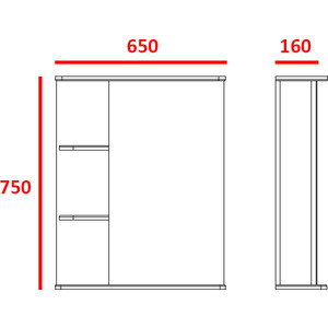Зеркальный шкаф Меркана Керса 02, 65см полки слева (7655) зеркало шкаф aquaton инфинити 65 1a197002if010 white