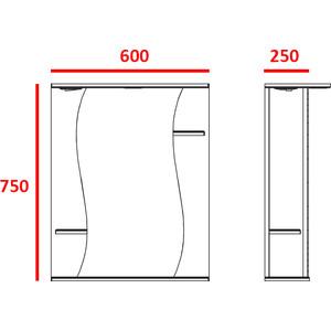 Зеркальный шкаф Меркана лилия 60 см полочки по бокам свет белое (14438) меркана магнолия 60 см полочки справа свет белое 7327