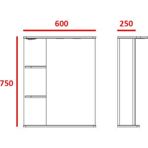 Фото - Зеркальный шкаф Меркана магнолия 60 см полочки слева свет белый (7326) зеркало меркана виттория 82 см 2 шкафа по бокам свет розетка выключатель 27666