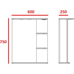 Зеркальный шкаф Меркана магнолия 60 см полочки справа свет белое (7327) меркана магнолия 60 см полочки справа свет белое 7327