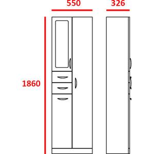 Пенал Меркана напольный стелла-2 55 см с зеркалом с корзиной белая (9942) пенал меркана напольный 30 см угловая с зеркалом левый белая 25550