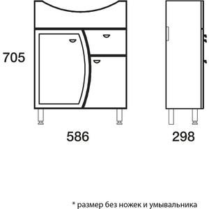 Тумба под раковину Меркана Roman для Уют 60 см с 1-ним ящиком на ножках салатовая (14469) тумба с раковиной меркана уют 50 на ножках белая 14401 уют 50