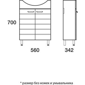 Тумба Меркана таис под ум-ник элегия 60 см на ножках белый каннелюр (16276)