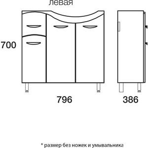 Тумба Меркана под ум-ник коралл 82 см л с 1-м ящиком на ножках белая (14851) тумба под раковину коралл 820 мм на ножках