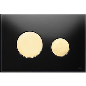 Панель смыва TECE TECEloop (9240658) стекло чёрное, клавиши позолоченые лицевая панель tece teceloop modular 9240679 без клавиш стекло рубиновый