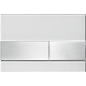 Панель смыва TECE TECEsquare (9240801) стекло белое, клавиши нержавеющая сталь 115 890 sn 5 электр блок датчика и клавиши 230в с клавишей sigma10 для унитаза матов полиров матов нерж сталь