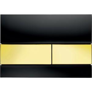 Панель смыва TECE TECEsquare (9240808) стекло чёрное, клавиши позолоченые tece кнопка смываtece now 9 240 400 белая