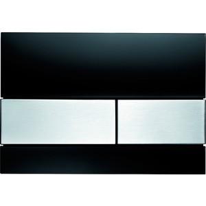 Панель смыва TECE TECEsquare (9240806) стекло чёрное, клавиши нержавеющая сталь 115 890 sn 5 электр блок датчика и клавиши 230в с клавишей sigma10 для унитаза матов полиров матов нерж сталь