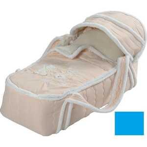 Сдобина Меховая сумка переноска для новорожденного голубой 79 декоративная подушка шкура медведя искусственный мех 50 50
