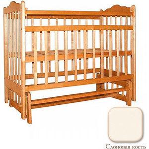 Кроватка Ивашка ''Мой малыш 9'' поперечный маятник (накладка/слоновая кость)