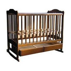 Кроватка Счастливый малыш ''Варвара'' колёсо/качалка/ящик/пвх (орех с оттенением) 005