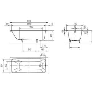 Стальная ванна Kaldewei Cayono 748 160x70x41 (2748.0001.0001) от ТЕХПОРТ