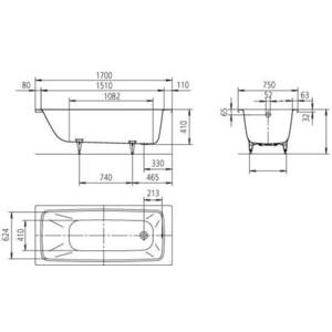 Стальная ванна Kaldewei Cayono 750 170x75x41 (2750.0001.0001) от ТЕХПОРТ