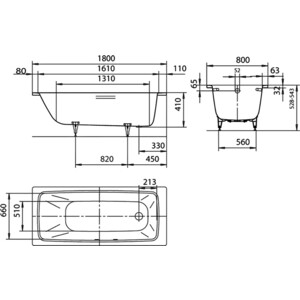 Стальная ванна Kaldewei Cayono 751 180x80x41 (2751.0001.0001) от ТЕХПОРТ