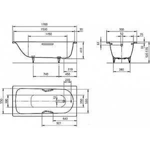 Стальная ванна Kaldewei Saniform Plus Star с отв для ручек 335 170x70x41 см 3.5 мм (1335.0001.0001) от ТЕХПОРТ