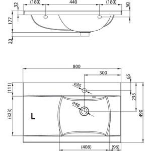 Раковина мебельная Ravak classic 800 l белая с отверстиями (XJDL1180000) раковина мебельная ravak chrome правая белая с отверстиями xjgp1100000
