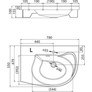 Раковина мебельная Ravak rosa comfort l белая с отверстиями (XJ8L1100000) от ТЕХПОРТ