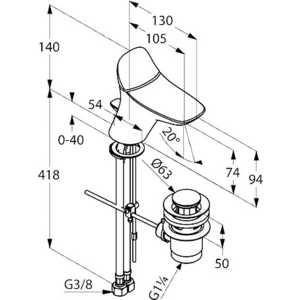 Смеситель для раковины Kludi Ambienta низкий с донным клапаном (530290575) от ТЕХПОРТ