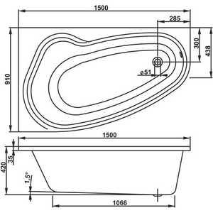 Акриловая ванна Vagnerplast Avona 150x90 левая от ТЕХПОРТ