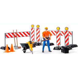 Аксессуары Bruder Набор знаков дорожных работ с фигуркой рабочего 62-000