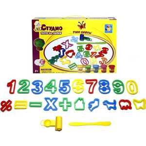 Тесто для лепки 1Toy Учим цифры с трафаретами Т54848