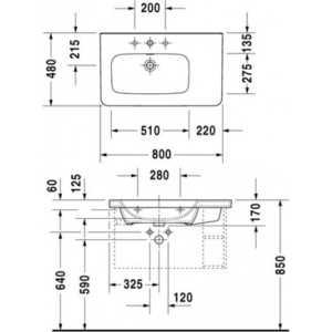 Раковина мебельная Duravit Durastyle с полкой (dx) 80см с 1 отв (2325800000) от ТЕХПОРТ