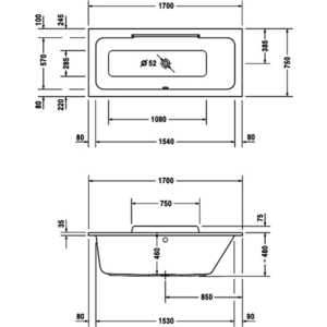 Акриловая ванна Duravit Durastyle 170x75 см с DX белая (700297000000000) от ТЕХПОРТ