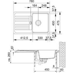 Мойка кухонная Franke Efg 614-78 обор сер. (114.0185.135) от ТЕХПОРТ