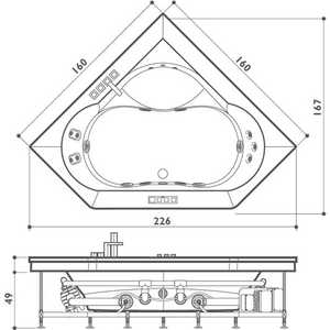 Ванна с г/м Jacuzzi Aura corner 160 top с дерев панелью смесит подсв 2 подг подогрев бел/хр/венге (9F43-483A)