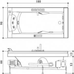 Ванна с г/м Jacuzzi Aura uno 180x90 смесит дезинфекция подсв 1 подг бел/хром/венге (9F43-344A)